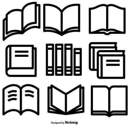 Vector LINE-stijl boekpictogrammen instellen