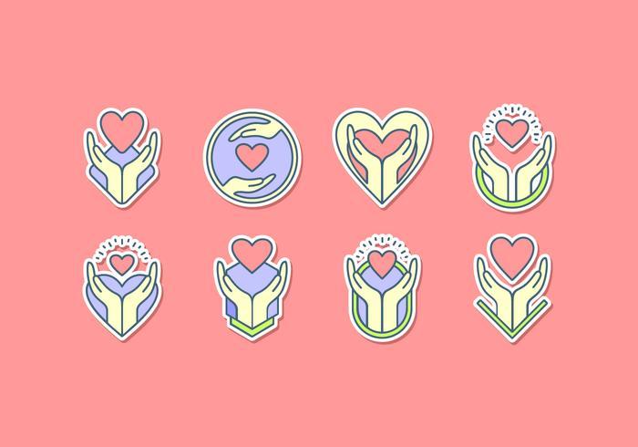Healing Hands Icon Sticker Gratis Vector
