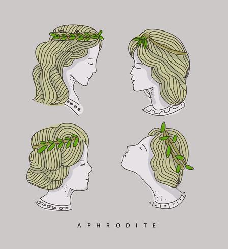 Aphrodite hoofd Hand getrokken vectorillustratie vector