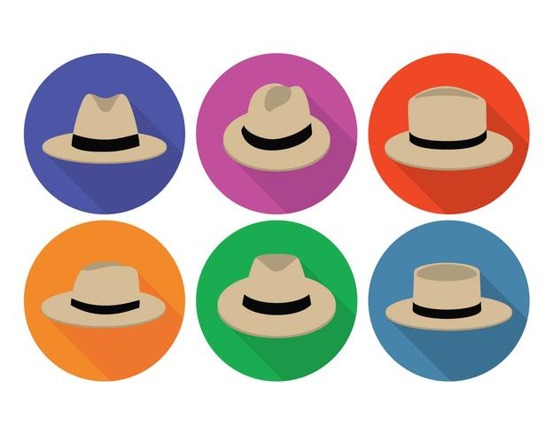 Panama hoed vector set