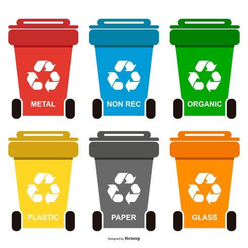 Recycle afvalbakken collectie vector