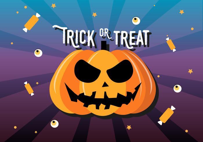 Gratis platte Halloween pompoen vectorillustratie vector