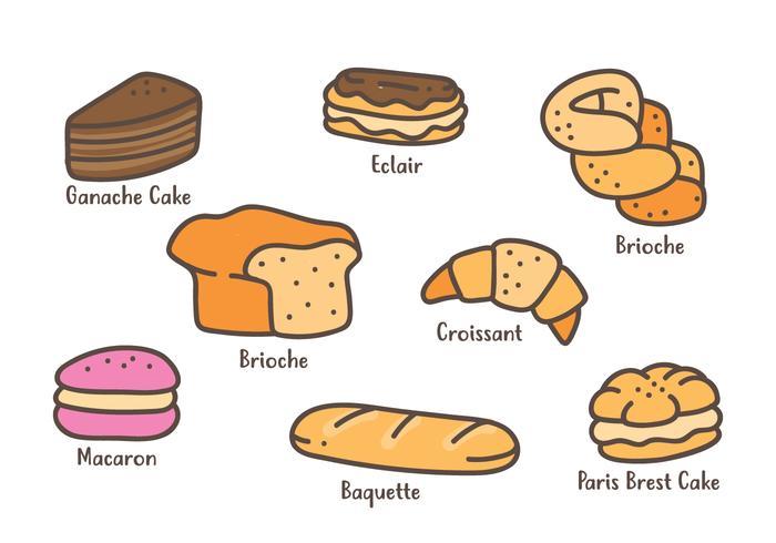 Franse gebakjes pictogram vector