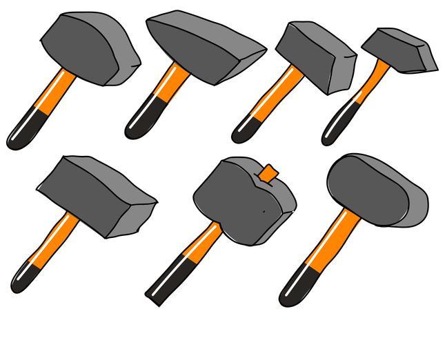 Vector Sledgehammer platte Cartoon pictogrammen