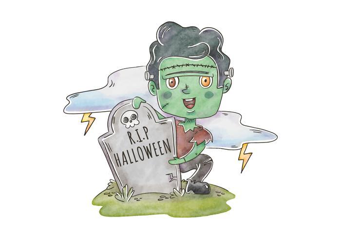 Leuke Frankenstein-zombie in de Vector van de Begraafplaatsscène