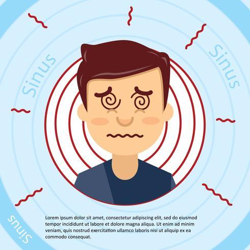 Platte gezicht en sinus illustratie vector