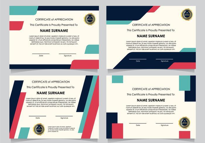 Platte certificaat van diploma set vector