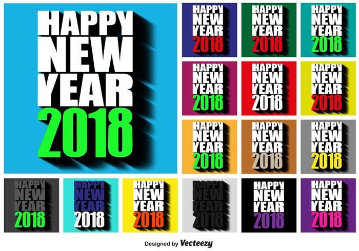 2018 Gelukkig Nieuwjaar vierkante knoppen vector