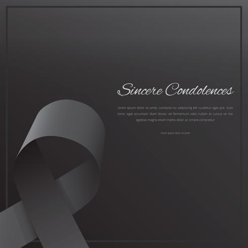 Elegante begrafeniskaart met zwart lint. vector