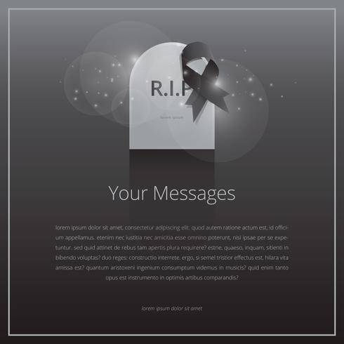 Elegante begrafeniskaart met zwart lint en grafsteen vector