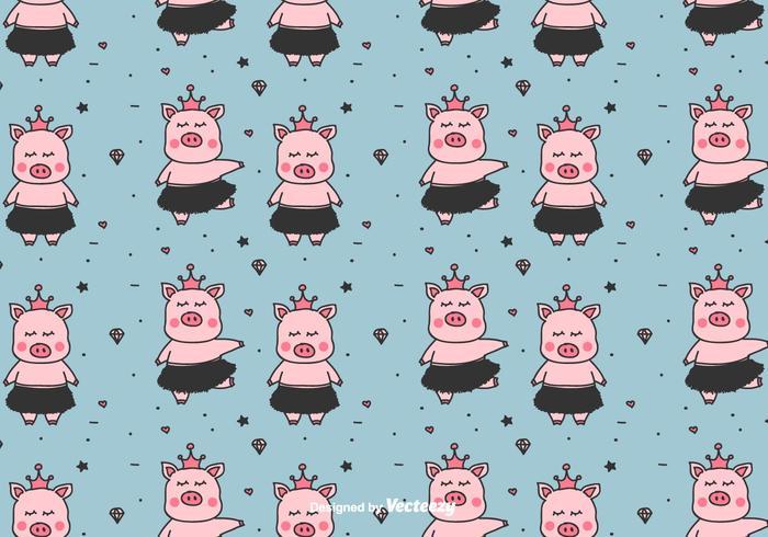Little Ballerina's varkens Vector patroon
