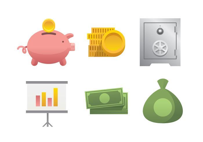 Geld veilig pictogram Gratis Vector