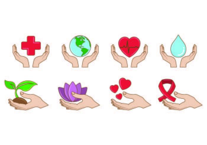 Set van helende handen pictogram vector