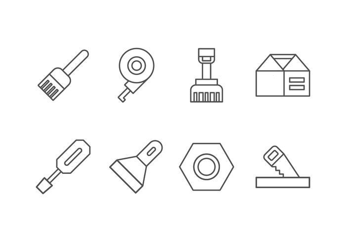Handgemaakt, doe-het-zelf, Bricolage Tools Set Icon vector