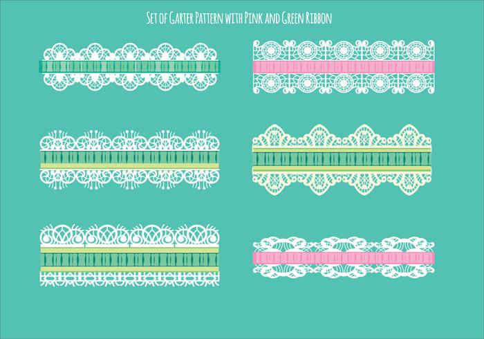 Set van ribbelpatroon met groen en roze lint vector