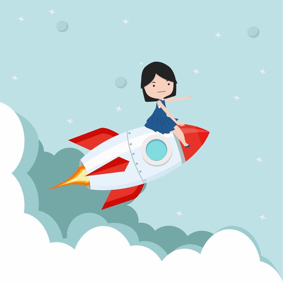 klein meisje rijdt op een vliegende raket in de lucht vector