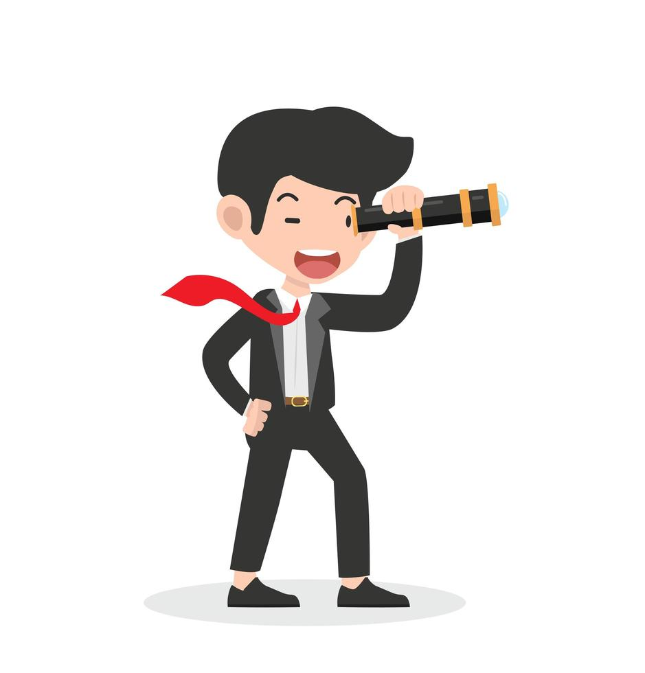 zakenman die door een telescoop kijkt vector