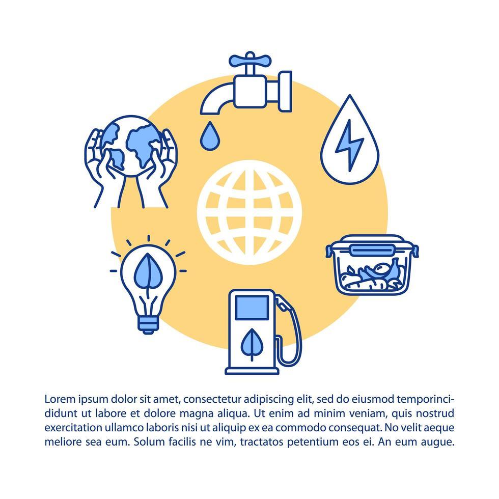 verantwoordelijke consumptie concept pictogram met tekst. vector