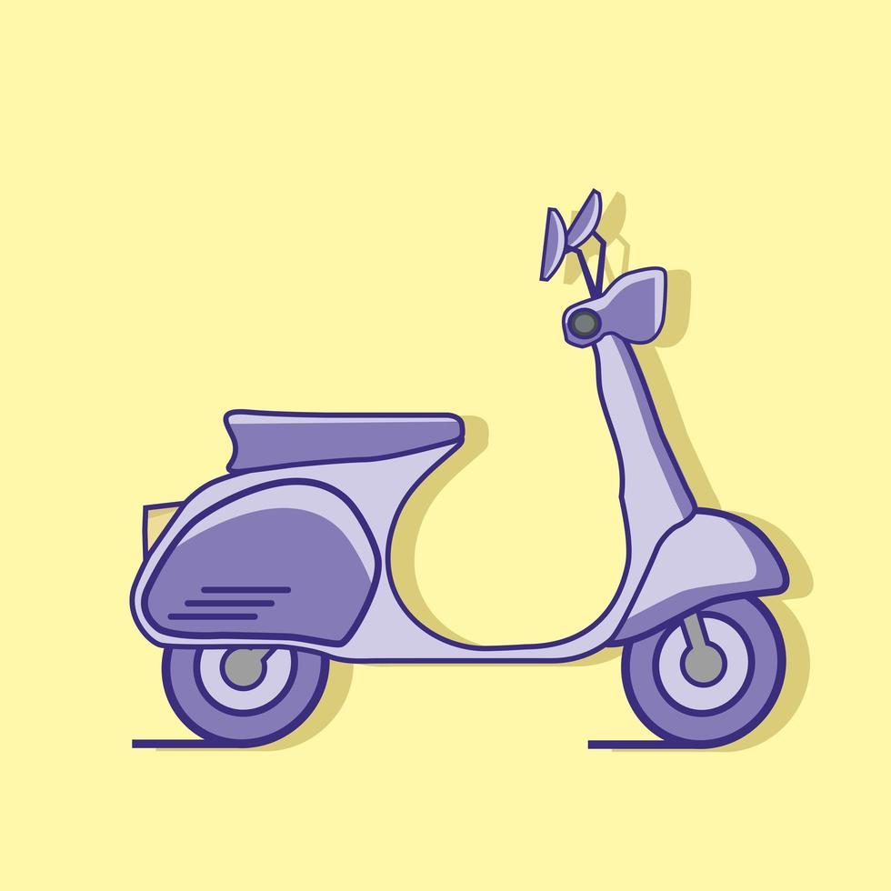 paarse scooter op gele achtergrond vector