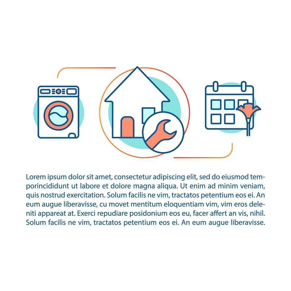 huis schoonmaak service concept lineaire sjabloon vector