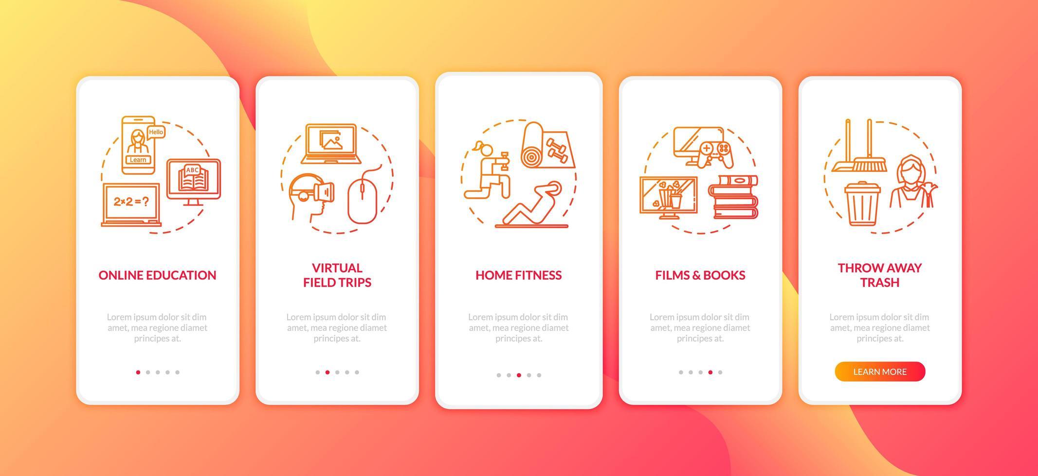 home activiteit, vrije tijd en e-learning onboarding mobiele pagina vector
