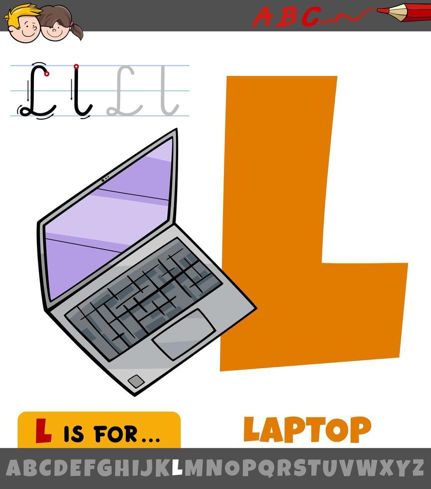 letter l uit alfabet met cartoon laptop vector