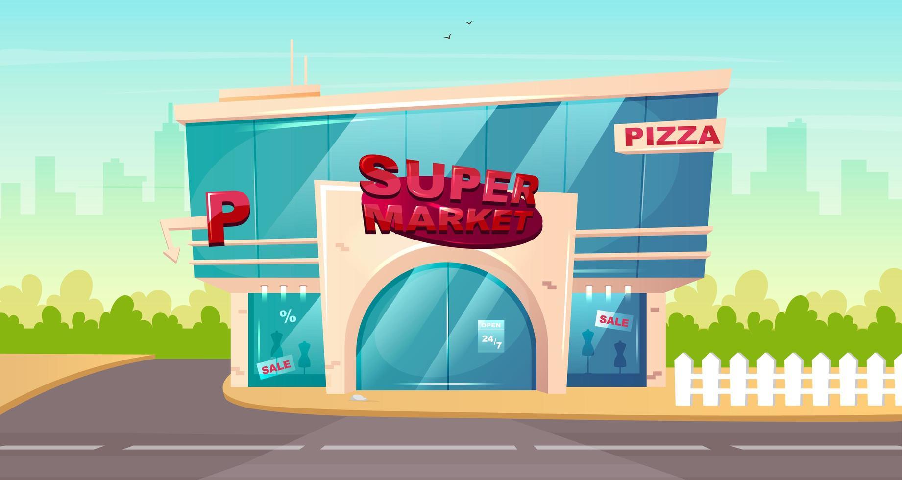 ingang van de supermarkt vector