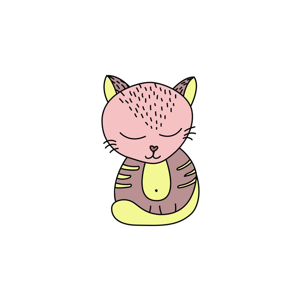 schattige kat in doodle stijl vector