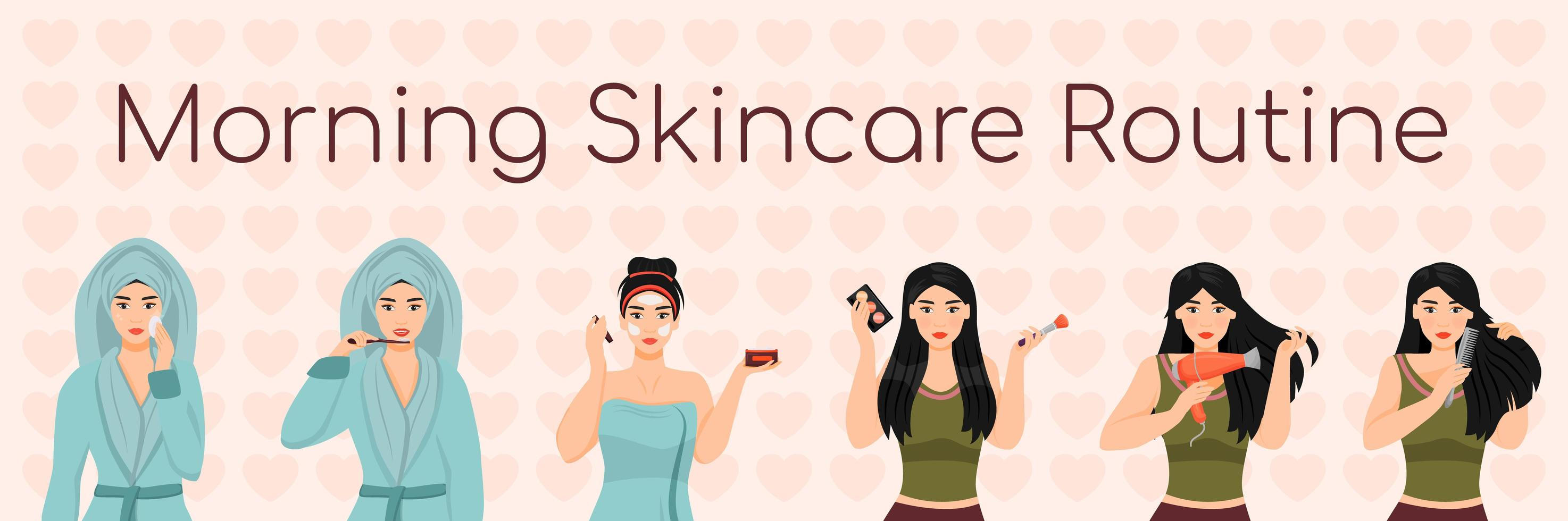 vrouw ochtend huidverzorgingsroutine vector