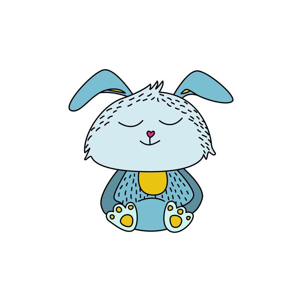 schattig konijn in doodle stijl vector