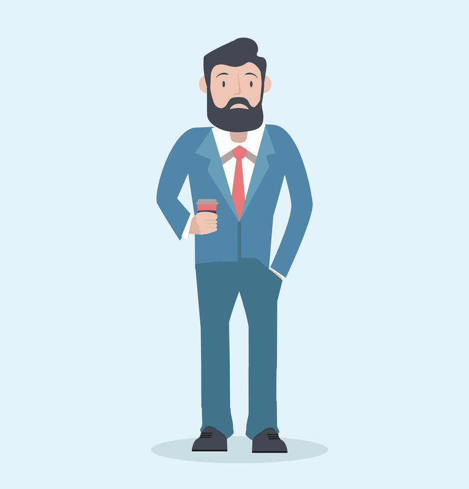 bebaarde zakenman in blauw pak met een kopje koffie vector