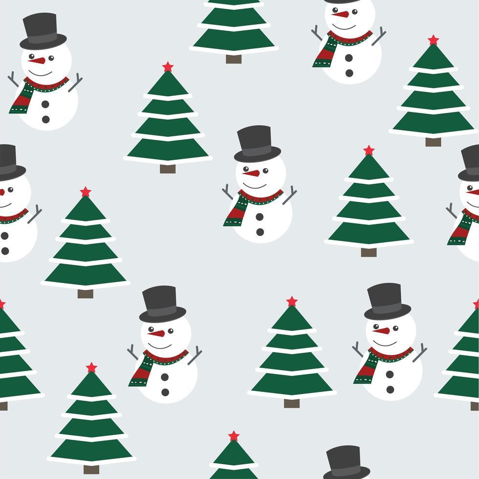 Kerst patroon met sneeuwpop en kerstboom vector