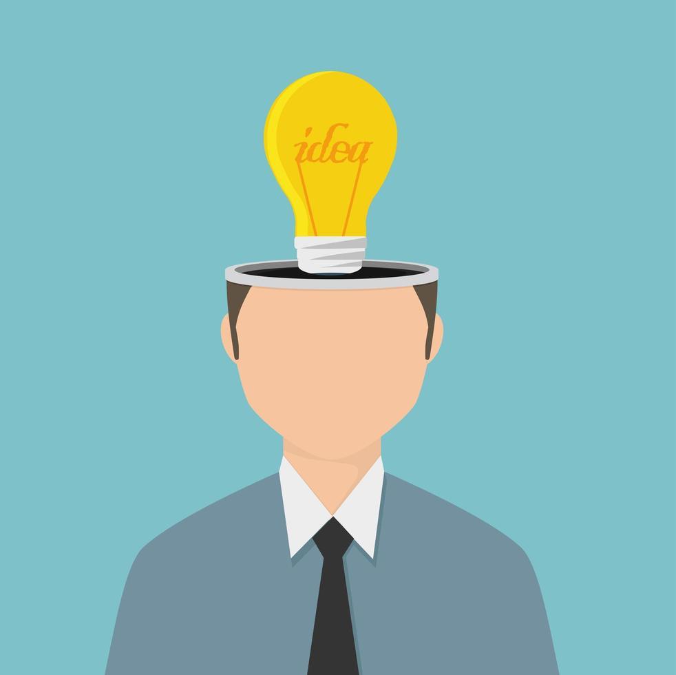 zakenman met een idee-gloeilamp in zijn hoofd vector