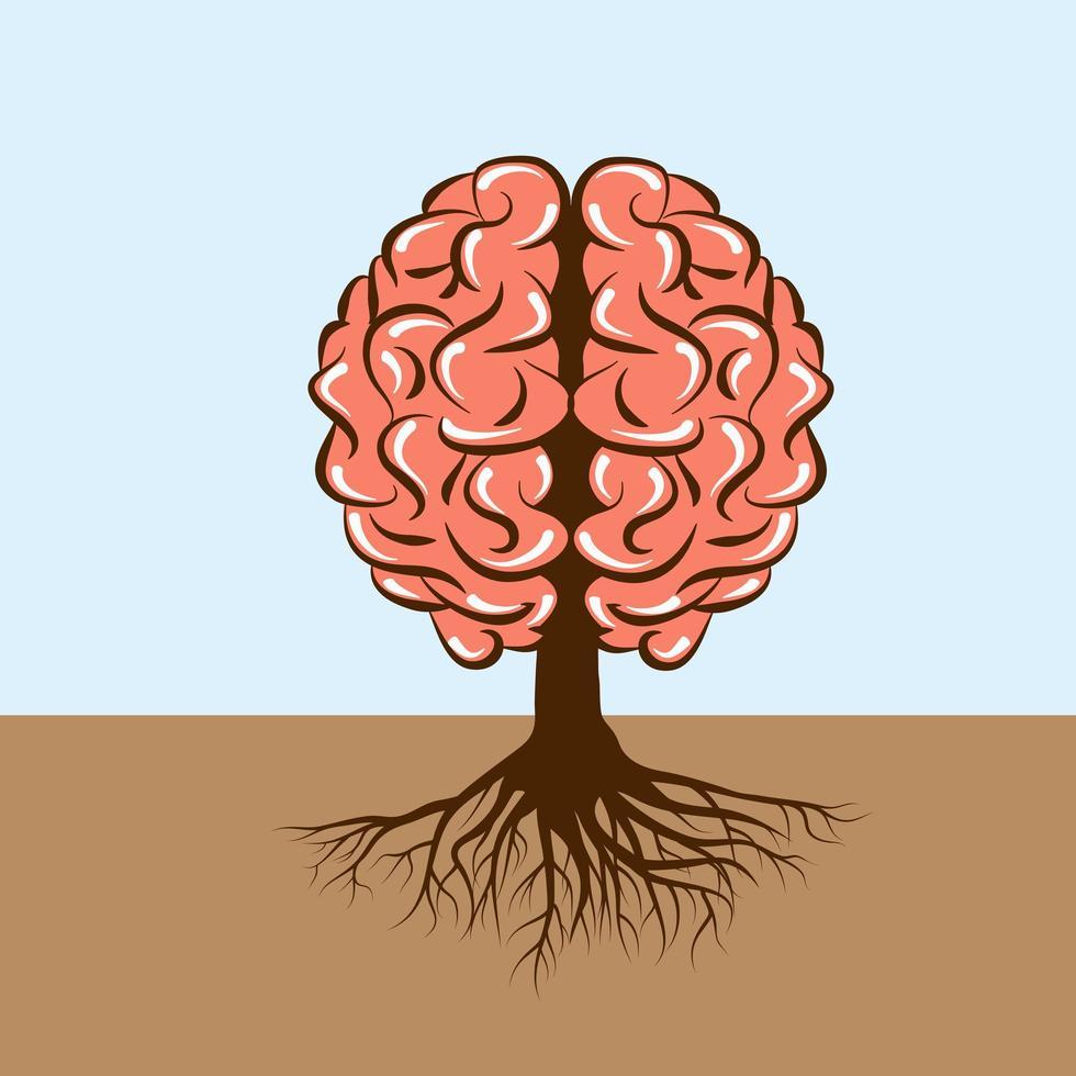 menselijk brein met wortels als een boom vector