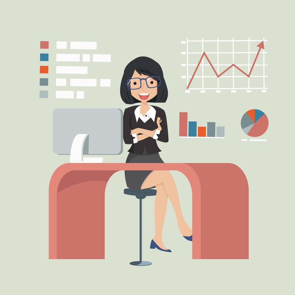 gelukkig zakenvrouw zittend aan een bureau met grafieken en diagrammen vector