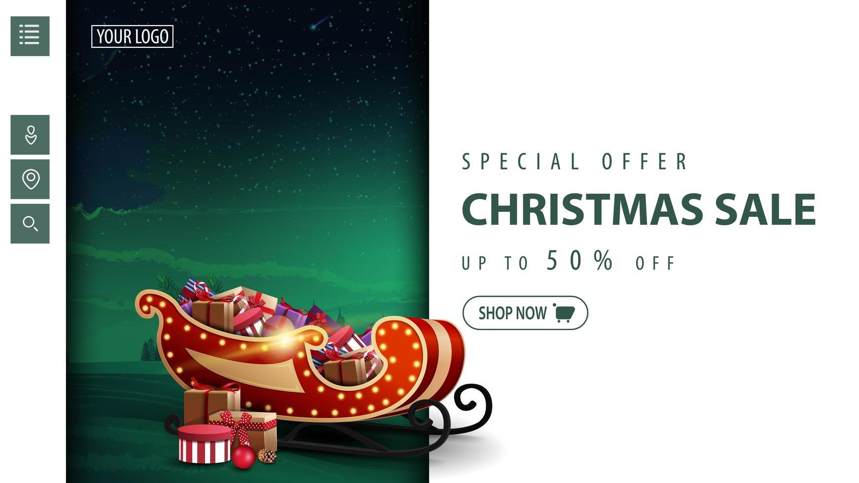 kerst moderne kortingsbanner voor website vector