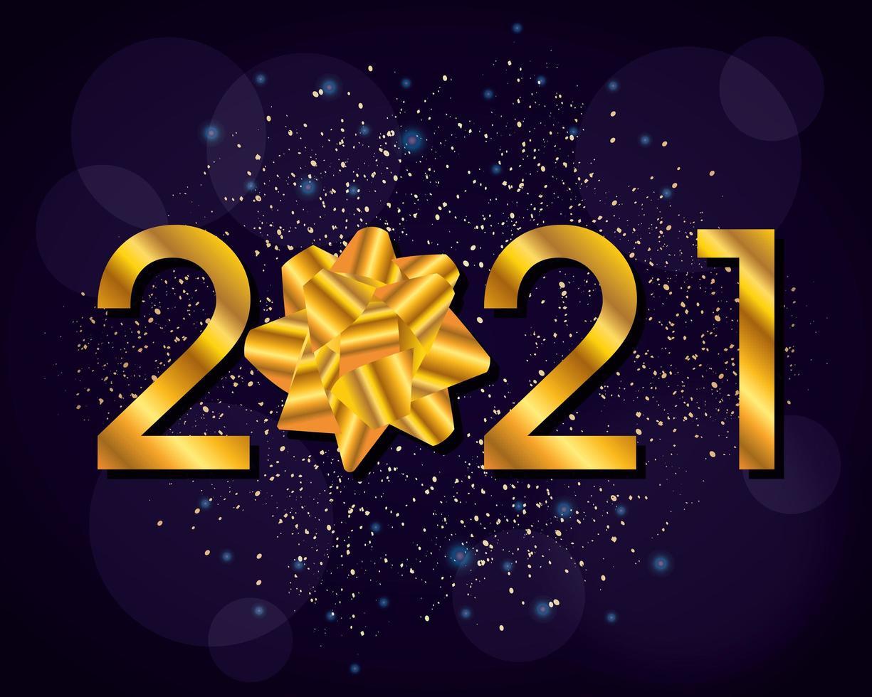 gelukkig nieuwjaar, 2021 vieringskaart met gouden strik vector