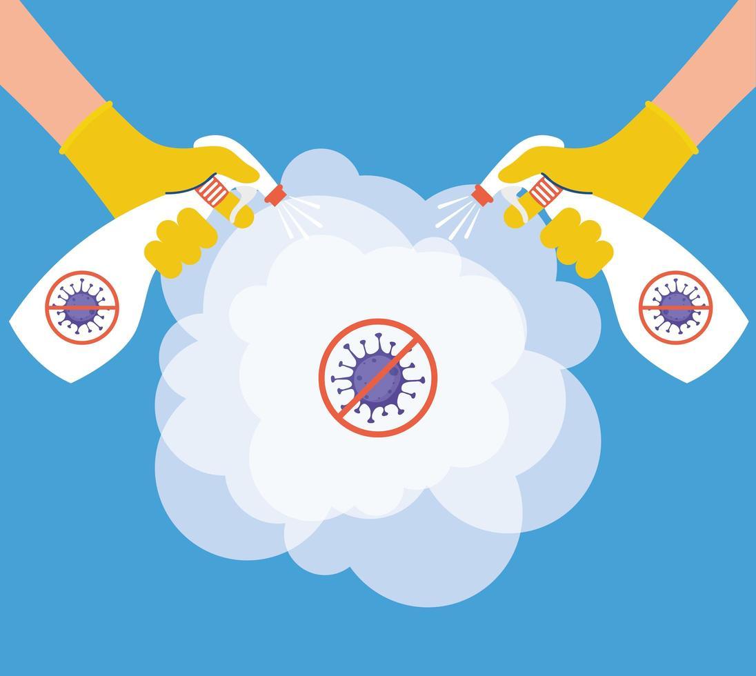 coronaviruspreventie met handen desinfecteren met spuitfles vector
