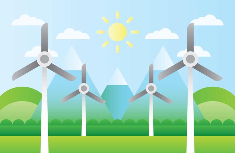Windturbine natuurlijke hulpbronnen vector