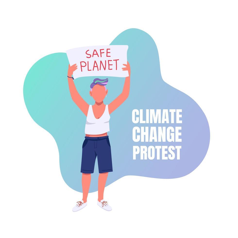 klimaatverandering protesteren op sociale media post vector