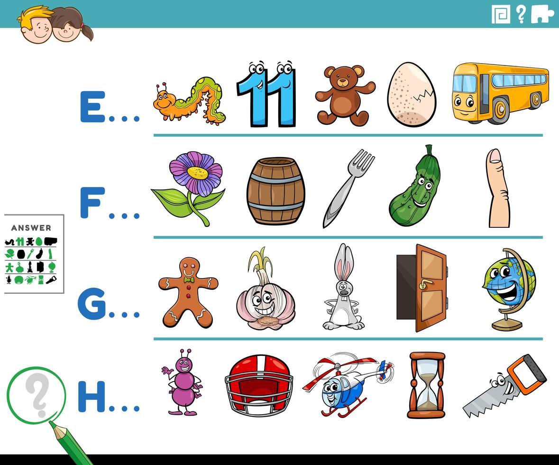eerste letter van een woord educatieve activiteit voor kinderen vector
