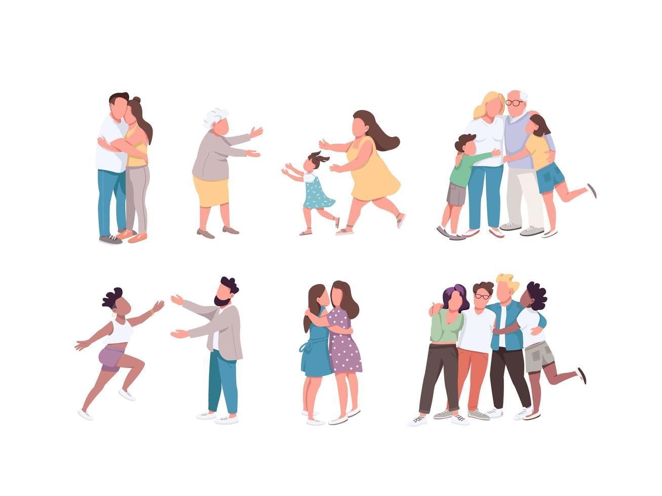 gelukkig knuffelen tekenset vector