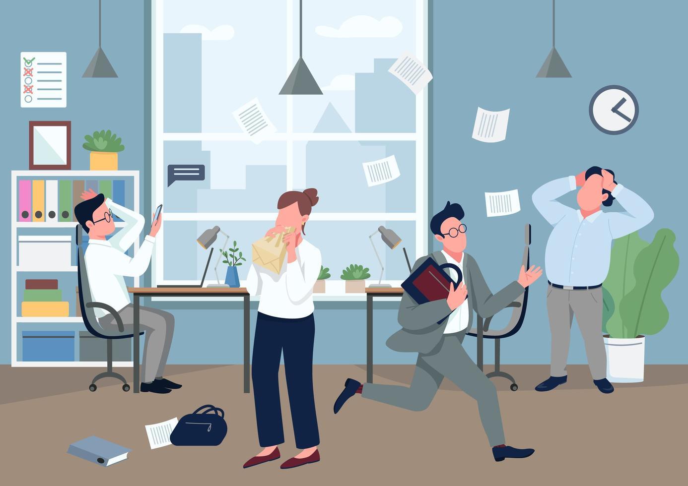paniek op kantoor vector