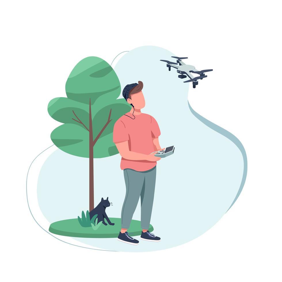 content creator met behulp van een drone vector