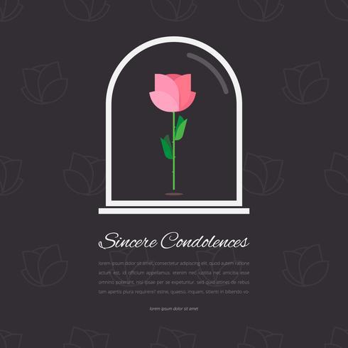 Elegante begrafenis kaart met roos in glas bewerkbare sjabloon groeten illustratie. vector