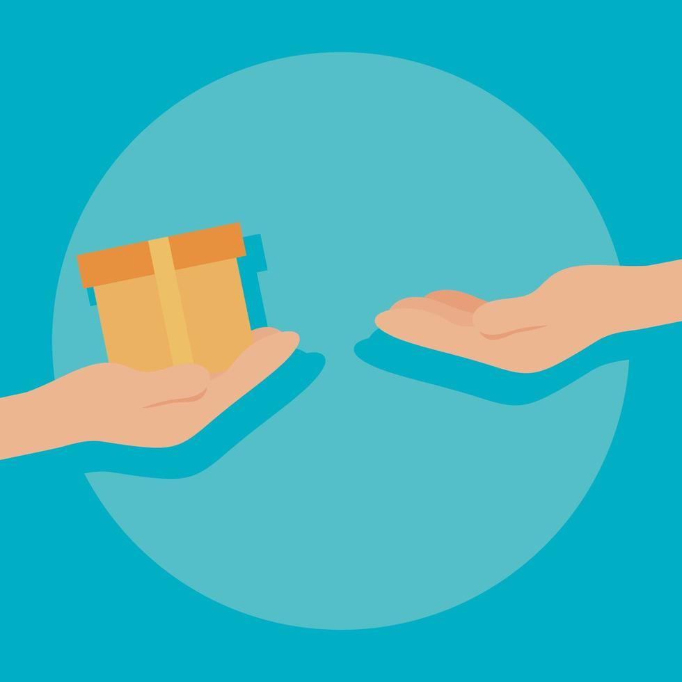 menselijke hand en pakket voor bezorgserviceconcept vector