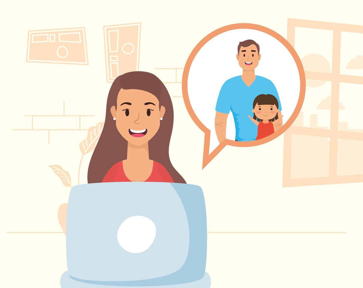 vrouw met laptop voor een videogesprek thuis vector