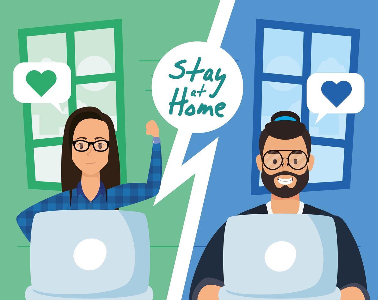 blijf thuis-campagne met mensen die een videogesprek voeren vector