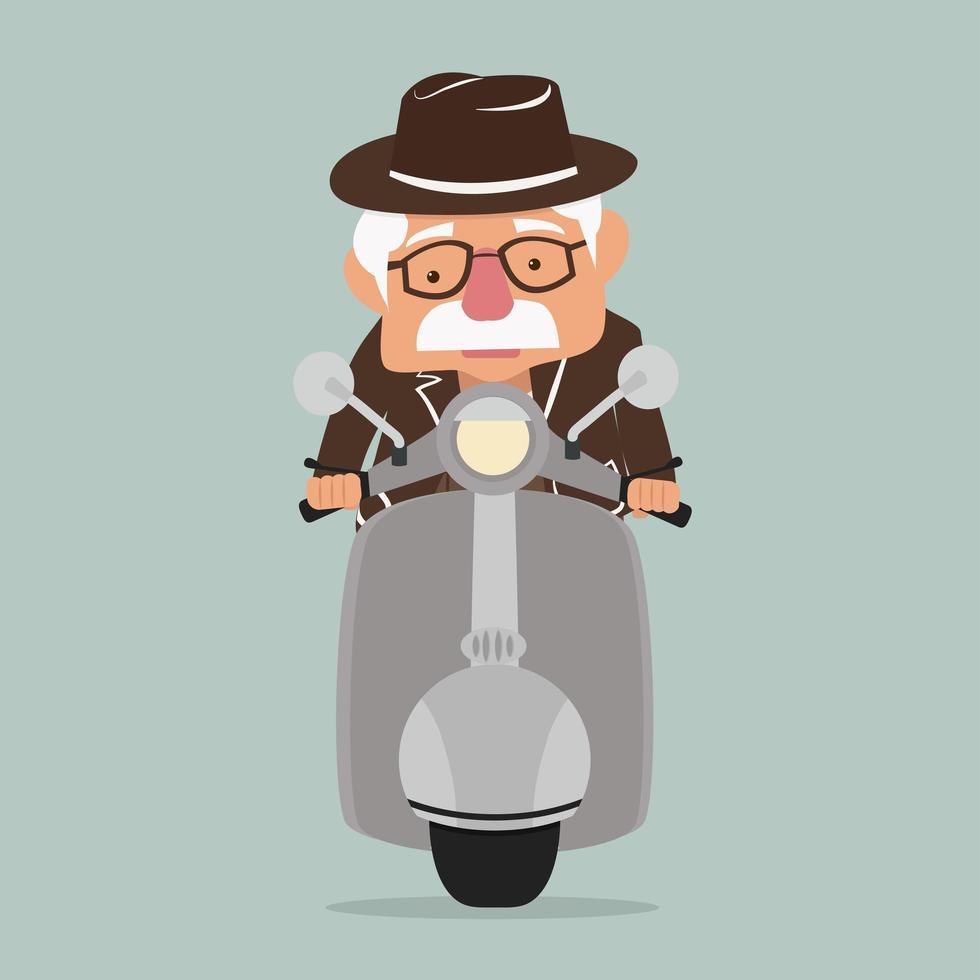 oude man die een scooter bestuurt vector