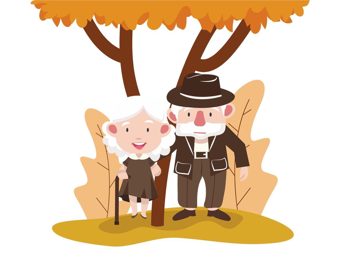 bejaarde echtpaar in een herfst park vector
